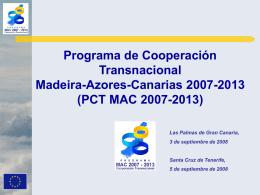 """Presentación """"PCT MAC 2007-2013"""""""