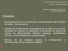 La Gestión Escolar en los Países de la Región