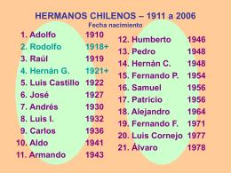 HERMANOS CHILENOS – 1911 a 2006