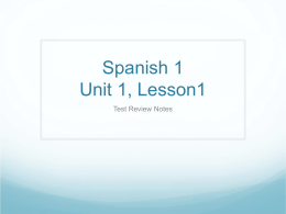 Spanish 1 Unit 1, Lesson1
