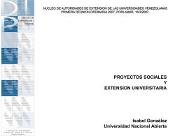 todos los proyectos son - Decanato de Extensión Universitaria