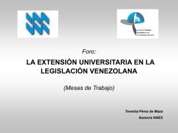 Foro: la extensión universitaria en la legislación venezolana