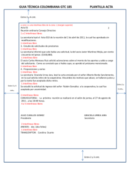 GUIA TÉCNICA COLOMBIANA GTC 885 PLANTILLA ACTA