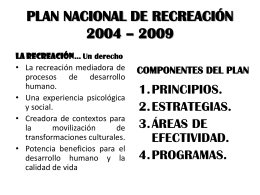 PLAN NACIONAL DE RECREACIÓN 2004 – 2009