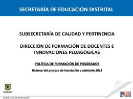 inscripción y admisión 2013