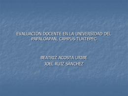 evaluación docente en la universidad del papaloapan, campus