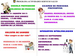 programa actividades servicio salud