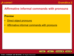 Gramática 2 Affirmative informal commands with pronouns
