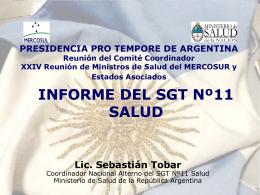 XXX Reunión Ordinaria del SGT Nº11- Salud