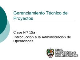 Clase 15a Gestión de Proyectos