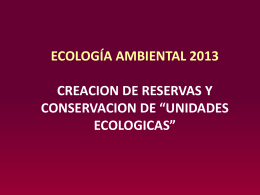 áreas ya protegidas - Departamento de Ecología, Genetica y