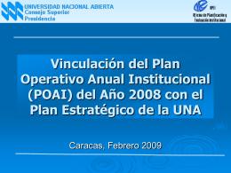 Vinculación del Plan Operativo Anual Institucional (POAI) del