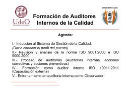Formación de Auditores Internos de la Calidad Agenda