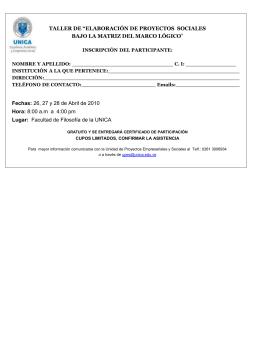 Inscripción del Participante
