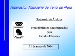 Procedimientos Partidos Oficiales 19-09-2009