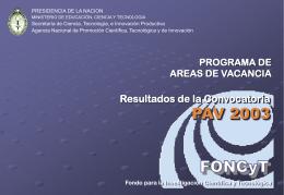 PAV 2003 resultados