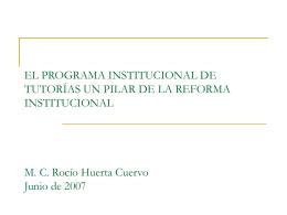EL PROGRAMA INSTITUCIONAL DE TUTORÍAS UN PILAR DE LA