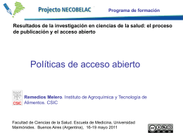 Reme Melero: Políticas de acceso abierto