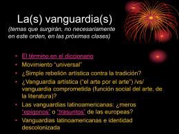 Las vanguardias (contextualización).