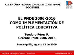 pacto social - Plan Nacional Decenal de Educación 2006-2016