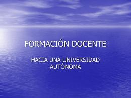 FORMACIÓN DOCENTE - Debate Educativo