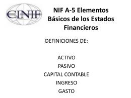 NIF A-5 Elementos Básicos de los Estados