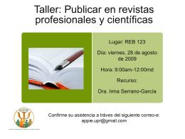 ¿Cómo publicar en revistas profesionales y científicas?