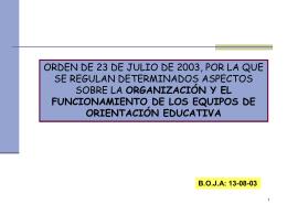 eoes: orden 23/07/03 (organización y funcionamiento)