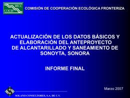 PRESENTACIÓN SONOYTA - Comisión de Cooperación Ecológica