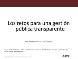 GIMENEZ CACHO. Los retos para una gestión pública transparente.