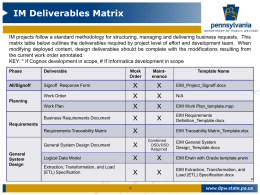 EIM - SDLC Deliverables Matrix
