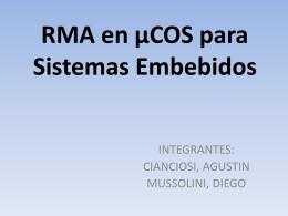 RMA en _COS para Sis.. - Departamento de Sistemas e Informática