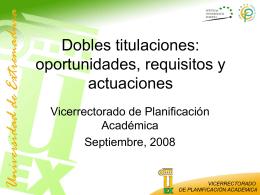 Tutorial III. Dobles Titulaciones: Oportunidades, Requisitos y