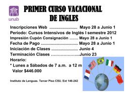 CURSOS VACACIONALES DE INGLES