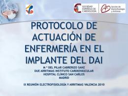 protocolo de actuación de enfermería en el implante del dai m ª
