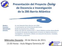 Presentación del Proyecto Doing de Docencia e Investigación de la