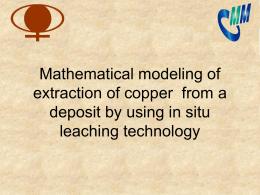 Modelación matemática de la extracción de cobre utilizando