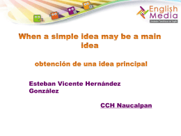 When a simple idea may be a main idea obtención de una idea
