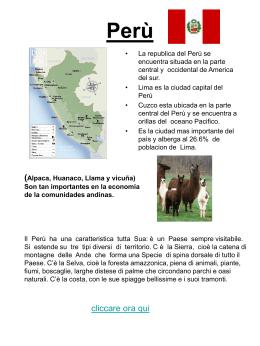 Pio di II D, ci presenta la sua terra: il Perù