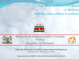 Social Protection Programs in Suriname Measures to combat