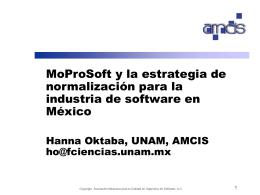 """H. Oktaba, """"MoProSoft y estrategia de normalización para la"""