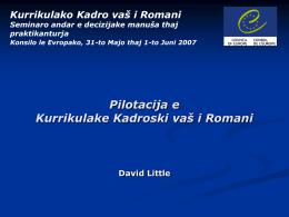 Kurrikulako Kadro vaš i Romani Seminaro andar e decizijake