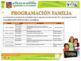 Actividades Programa Familia, Segundo Semestre del