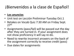 Slide 1 - ¡Bienvenidos a la clase de español!