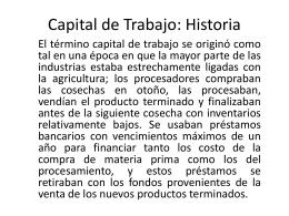 Capital de Trabajo: Historia
