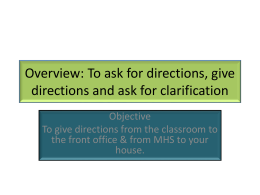 Vocabulary 3-2: To ask for and give directions