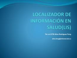 LOCALIZADOR DE INFORMACIÓN EN SALUD(LIS)