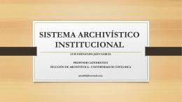 SISTEMA ARCHIVÍSTICO INSTITUCIONAL