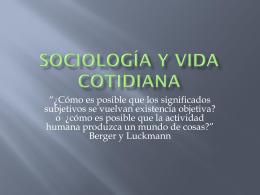 Sociología y vida cotidiana