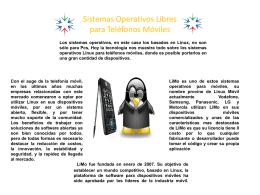 Sistemas Operativos Libres para Teléfonos Móviles